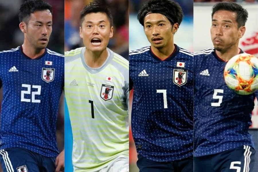(左から)日本代表の吉田麻也、川島永嗣、柴崎岳、長友佑都【写真:Getty Images】