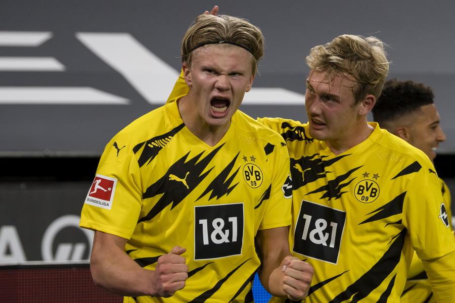 ドルトムントのノルウェー代表FWアーリング・ブラウト・ハーランド(左)【写真:Getty Images】