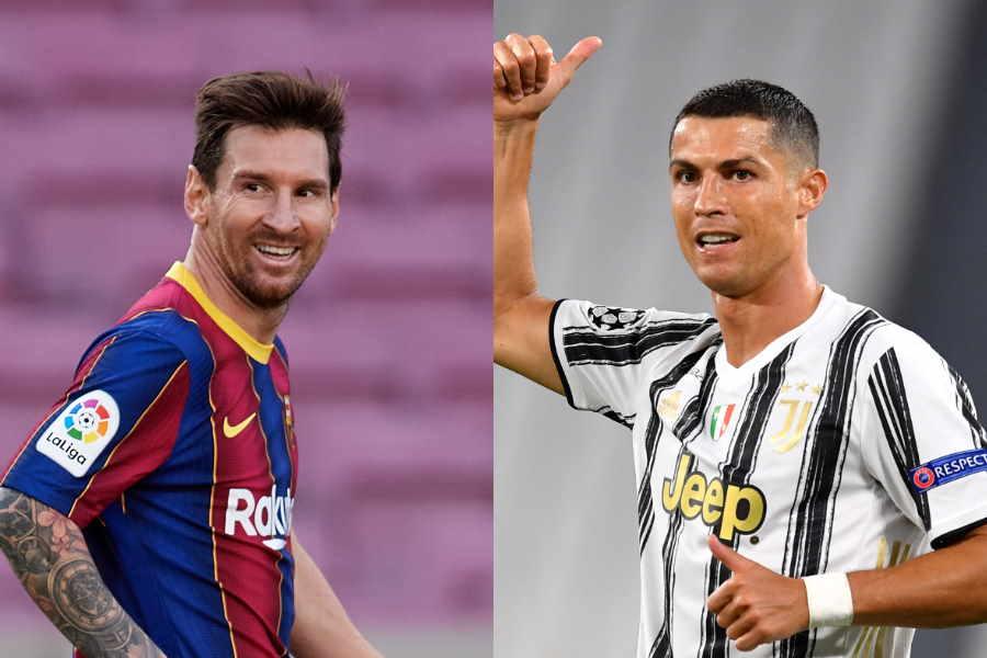 現代最高の選手と言われるメッシ(左)とロナウド【写真:Getty Images】