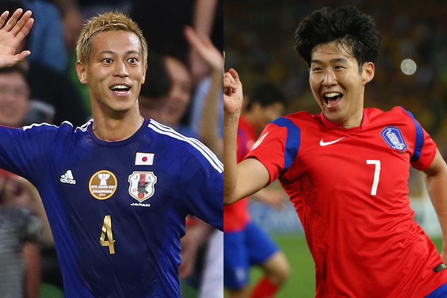 2015年アジアカップ時の本田圭佑とソン・フンミン【写真:Getty Images】
