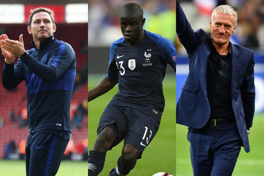 フランス代表MFカンテ(中央)について、2人の監督が論争【写真:Getty Images】