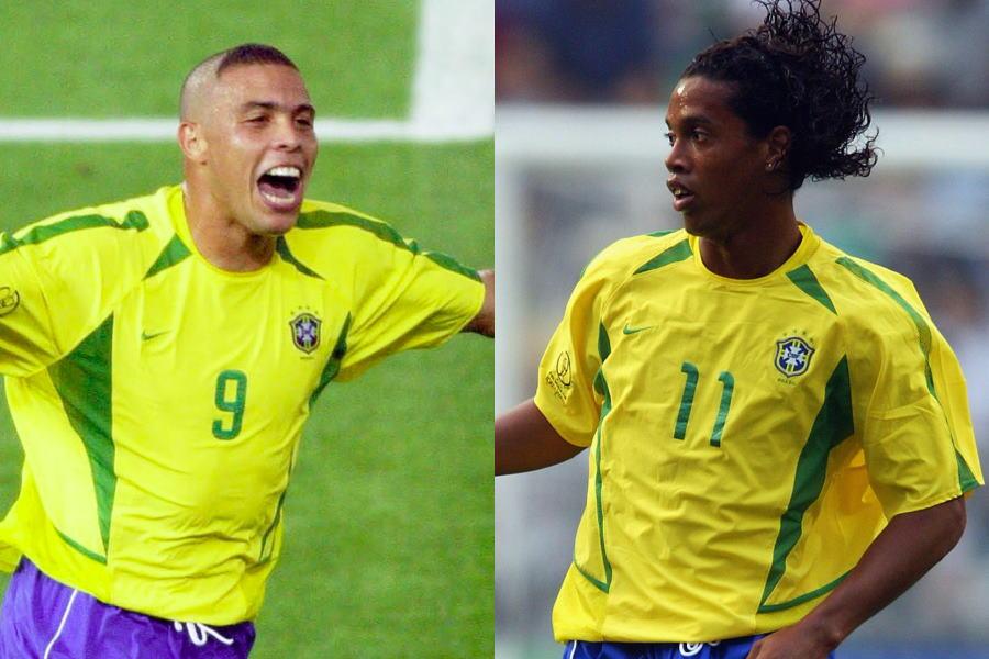日韓W杯で共闘した元ブラジル代表FWロナウド&ロナウジーニョ【写真:Getty Images】