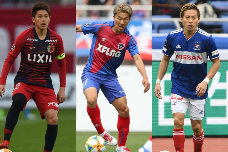 上位3チームの(左から)鹿島DF内田、東京FW永井、横浜FMのFW仲川【写真:高橋学 & Getty Images】