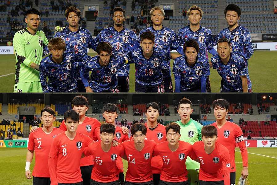 E-1選手権に臨む日本代表と韓国代表【写真:Getty Images】