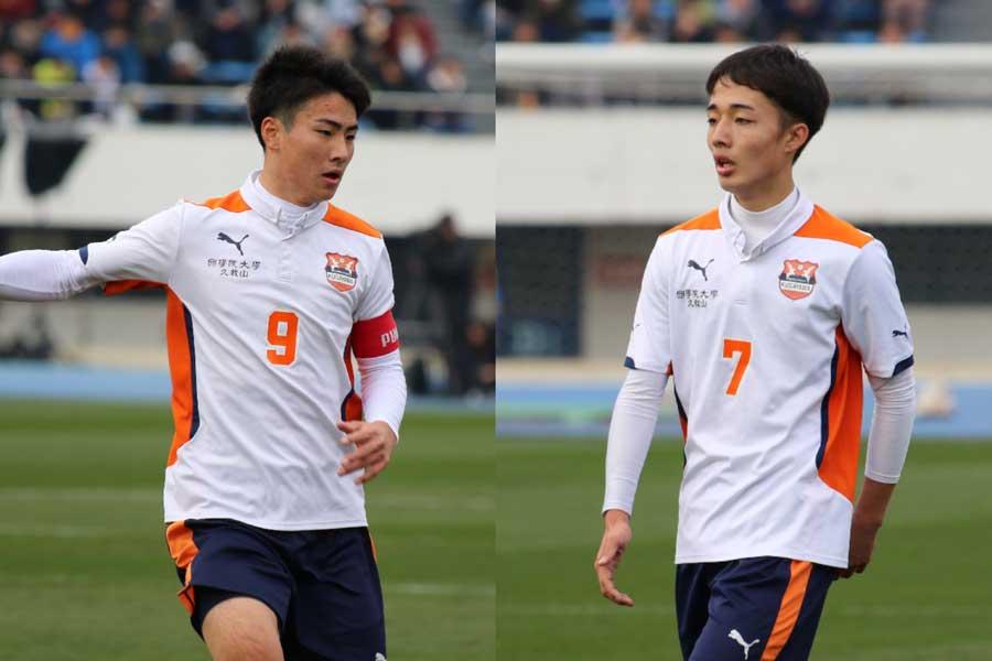 國學院久我山高校のFW山本航生(左)とFW山下貴之【写真:Football ZONE web】