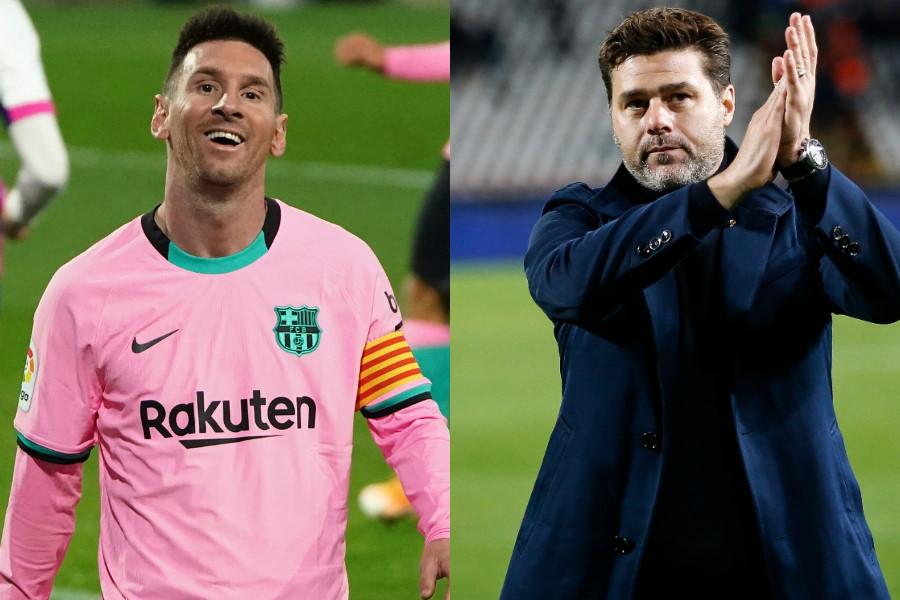 バルセロナFWメッシ(左)とポチェッティーノ氏【写真:Getty Images&AP】
