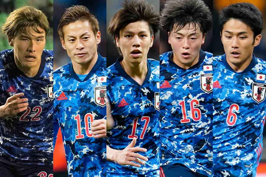 日本代表の(左から)橋岡、仲川、田中、相馬、大島【写真:Getty Images & Yukihito Taguchi】