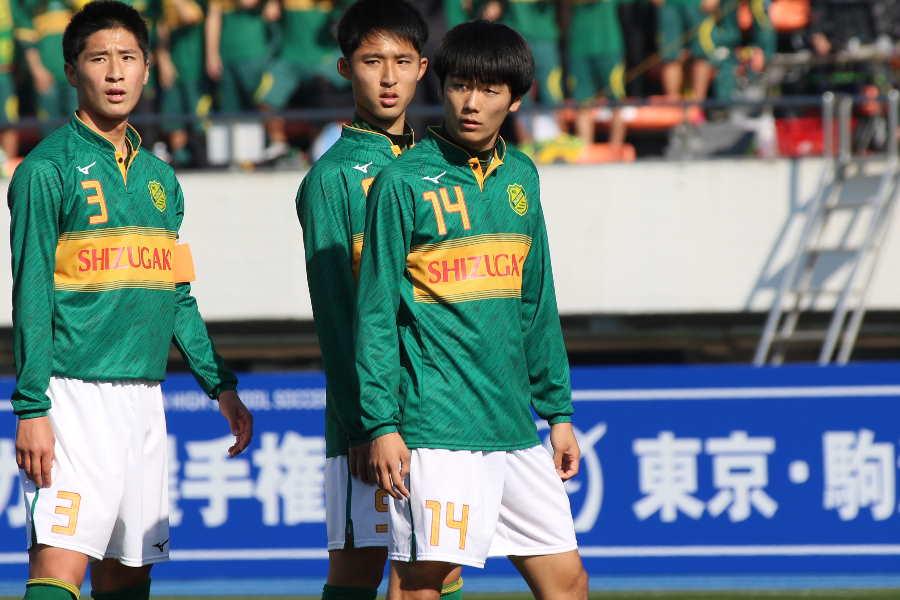 MF小山尚紀(中央14番)の2得点を含め、静岡学園は3-0で2回戦を突破した【写真:Football ZONE web】