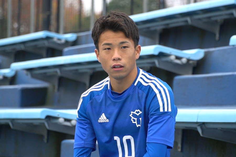 日本体育大学エースFW山下諒也【写真:Football ZONE web】