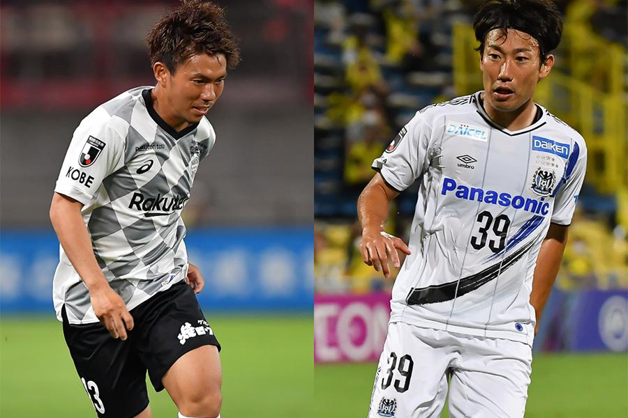 横浜FCへの移籍が決定しているFW小川慶治朗とFW渡邉千真【写真:小林 靖】