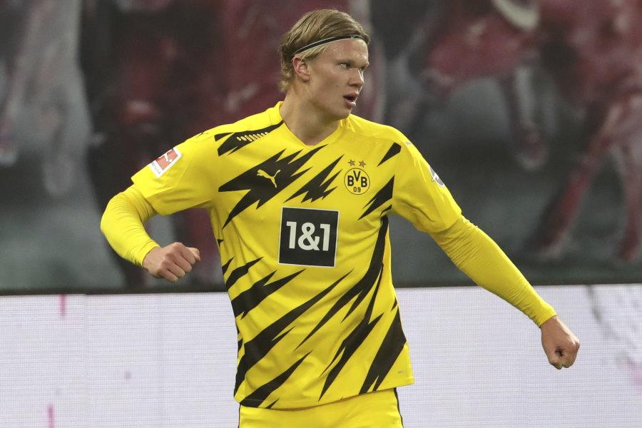 2得点を奪ったドルトムントのノルウェー代表FWアーリング・ブラウト・ハーランド【写真:AP】