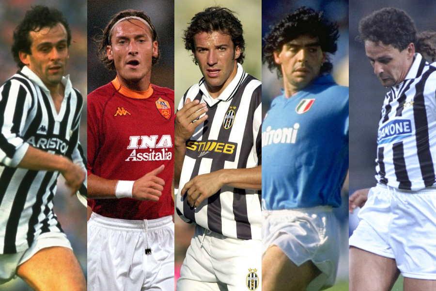 (左から)プラティニ、トッティ、デル・ピエロ、マラドーナ、バッジョ【写真:Getty Images】