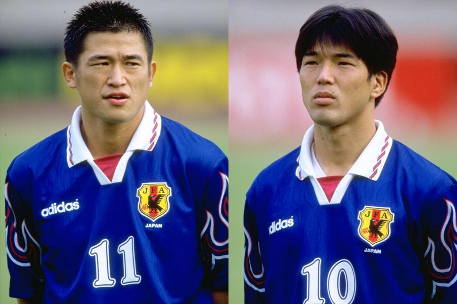 日本代表時代のFW三浦知良(現・横浜FC)とMF名波浩氏【写真:Getty Images】