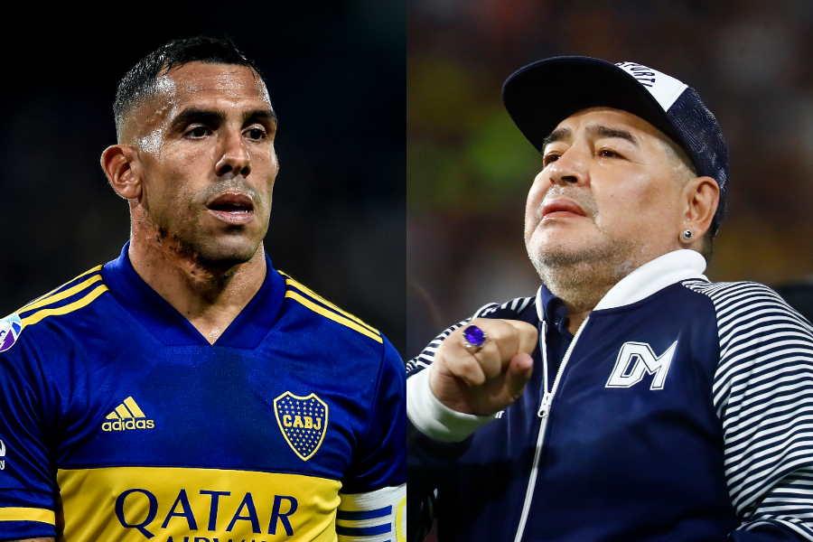 元アルゼンチン代表FWカルロス・テベス(左)とマラドーナ氏【写真:Getty Images】