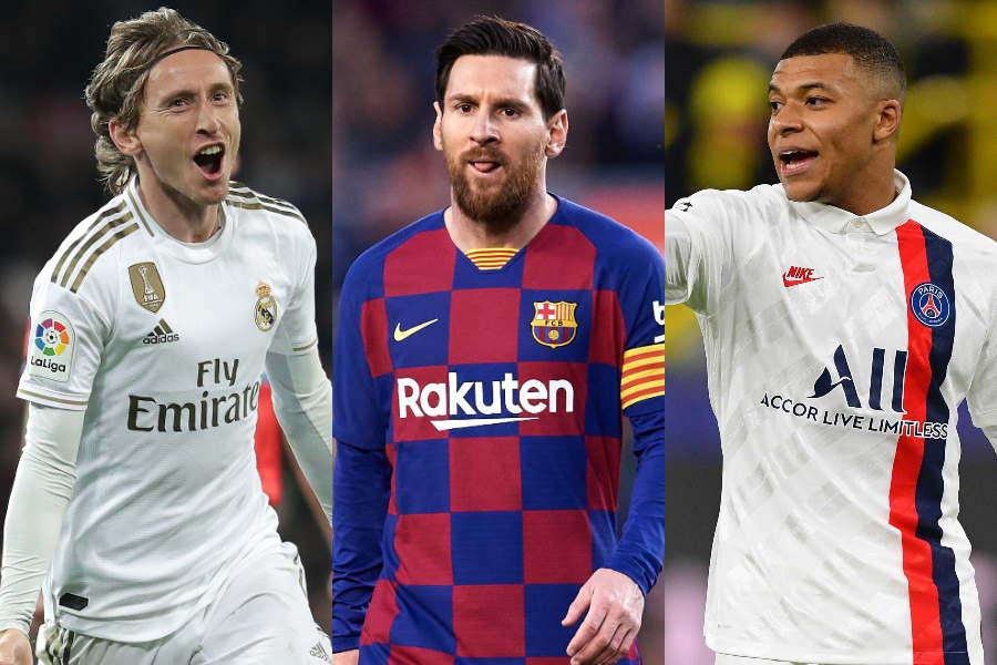 6月末に契約更新を控えるレアルMFモドリッチ、バルサFWメッシ、PSGのFWムバッペ【写真:Getty Images】