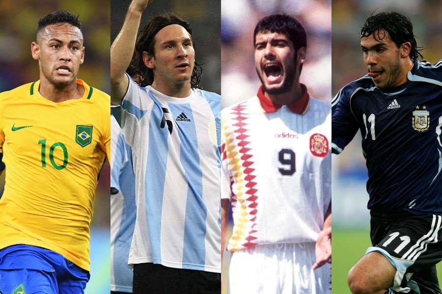 (左から)ネイマール、メッシ、グアルディオラ、テベス【写真:Getty Images】