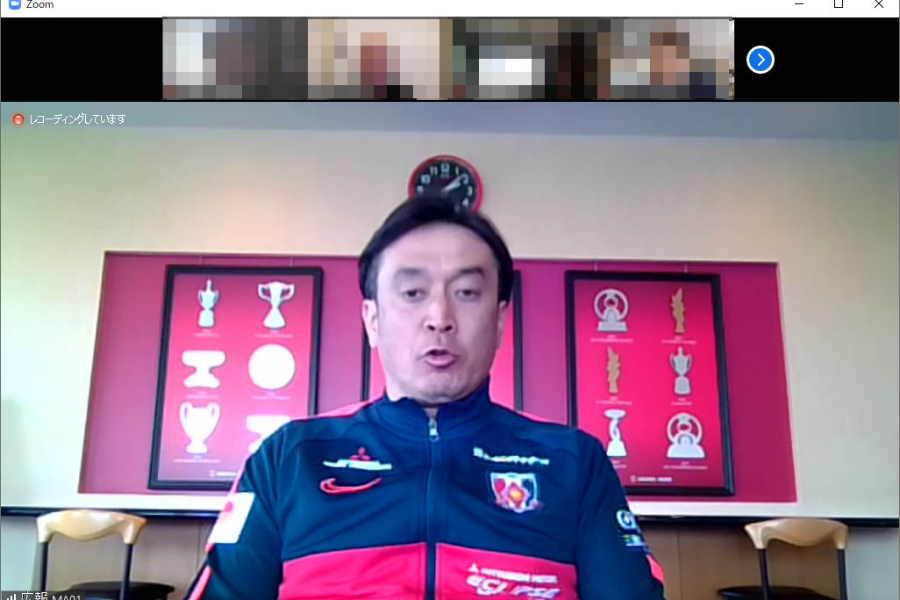 ビデオ通話アプリを使用して取材に応じた大槻毅監督【※画像はスクリーンショットです】