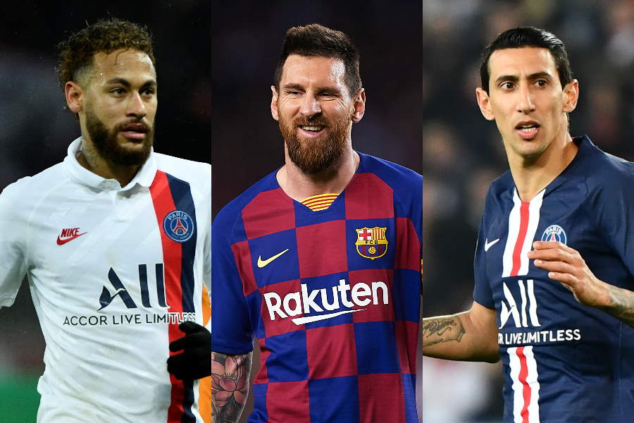 FKで世界を驚かせた(左から)ネイマール、メッシ、ディ・マリア【写真:Getty Images】