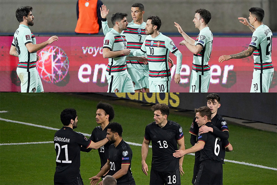 3試合を終えてグループAの首位ポルトガル代表(上)とグループJの3位ドイツ代表【写真:Getty Images】