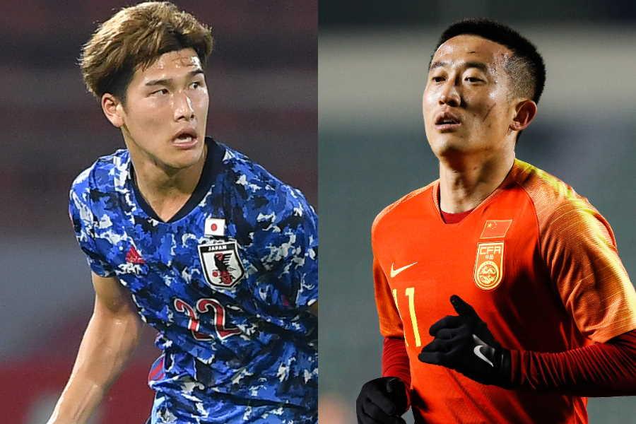 中国代表DFジャン・ジーポン(右)と日本代表DF橋岡大樹【写真:Getty Images】