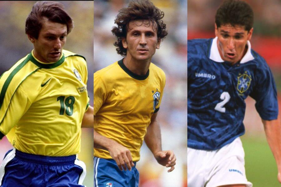 ブラジル代表時代の(左から)レオナルド、ジーコ、ジョルジーニョ【写真:Getty Images】