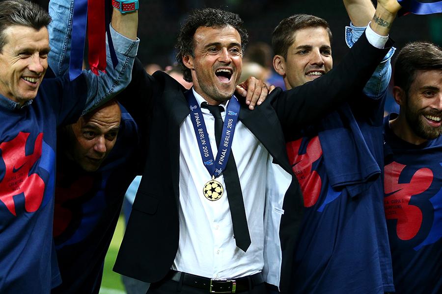 2014-15シーズンのチャンピオンズリーグで優勝したバルセロナのルイス・エンリケ監督【写真:Getty Images】