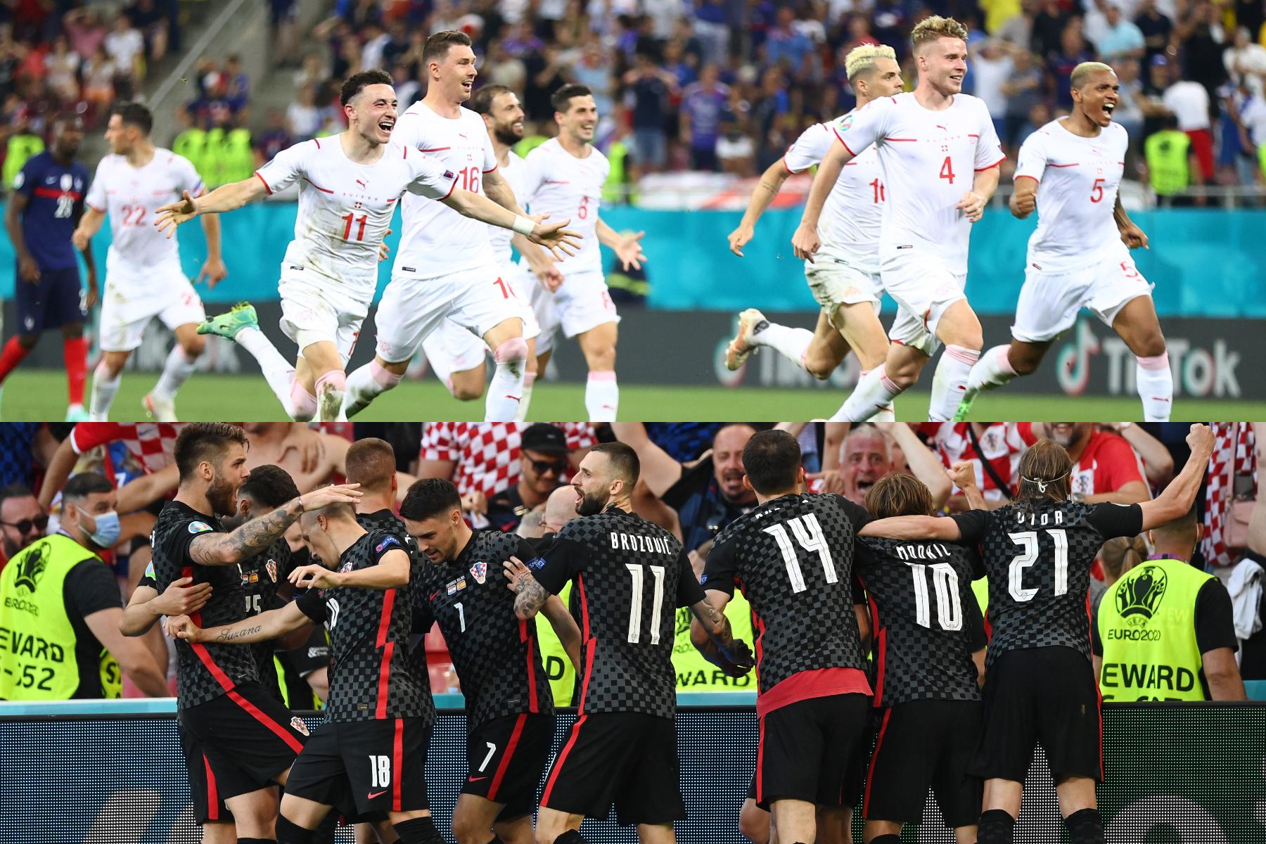 フランス代表に勝利したスイス代表(上)と惜しくも敗退となったクロアチア代表【写真:ロイター】
