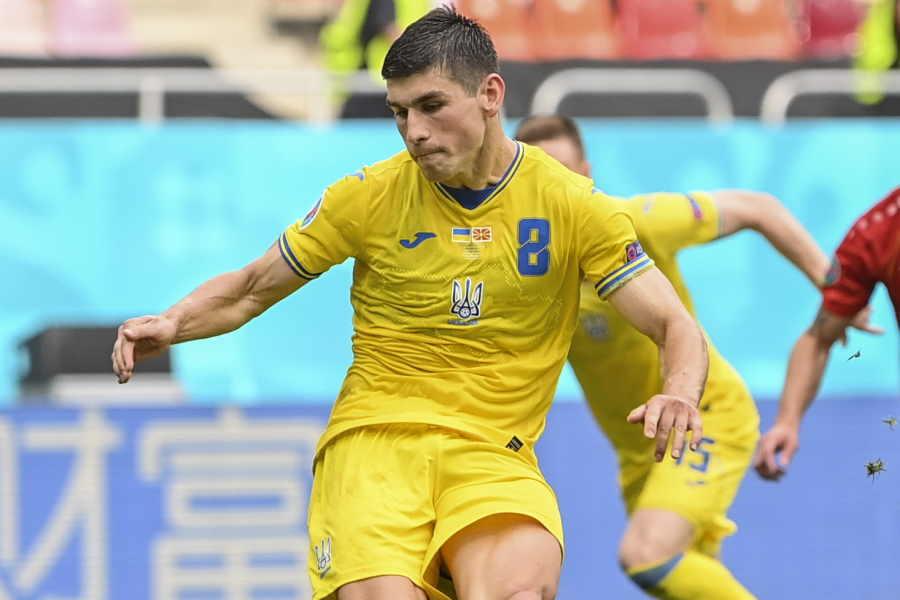 EUROでトーナメントまで勝ち残っているウクライナ代表MFルスラン・マリノフスキー【写真:AP】