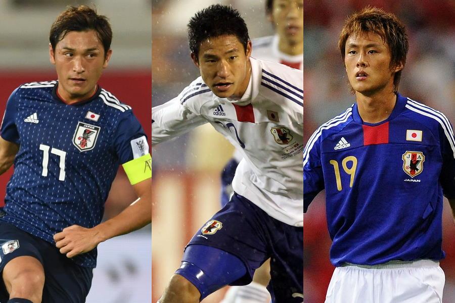 (左から)MF青山敏弘、FW平山相太、FW李忠成【写真:Getty Images】