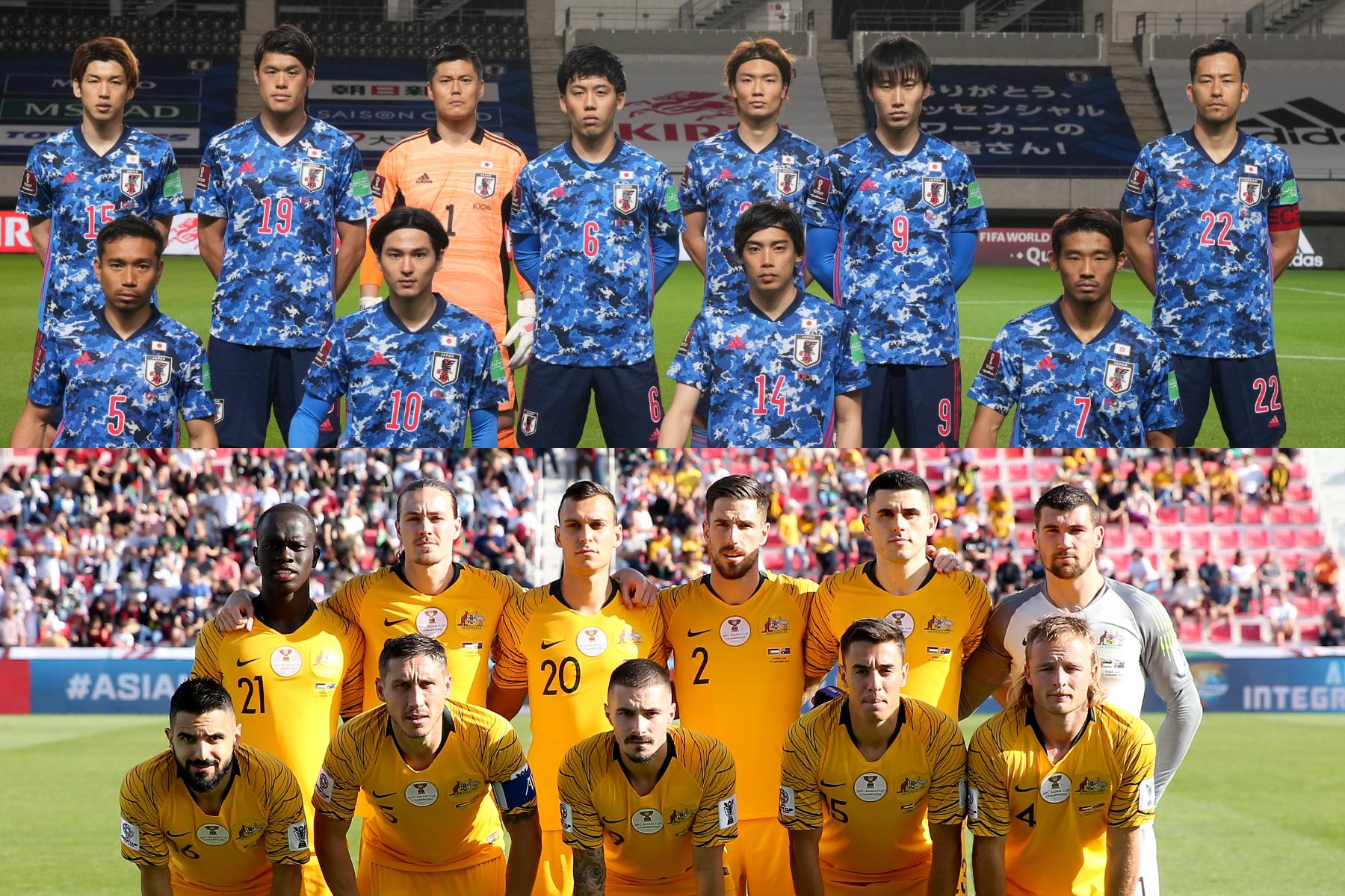 ワールドカップへの切符を争う日本代表とオーストラリア代表【写真:Getty Images & ⓒJFA】