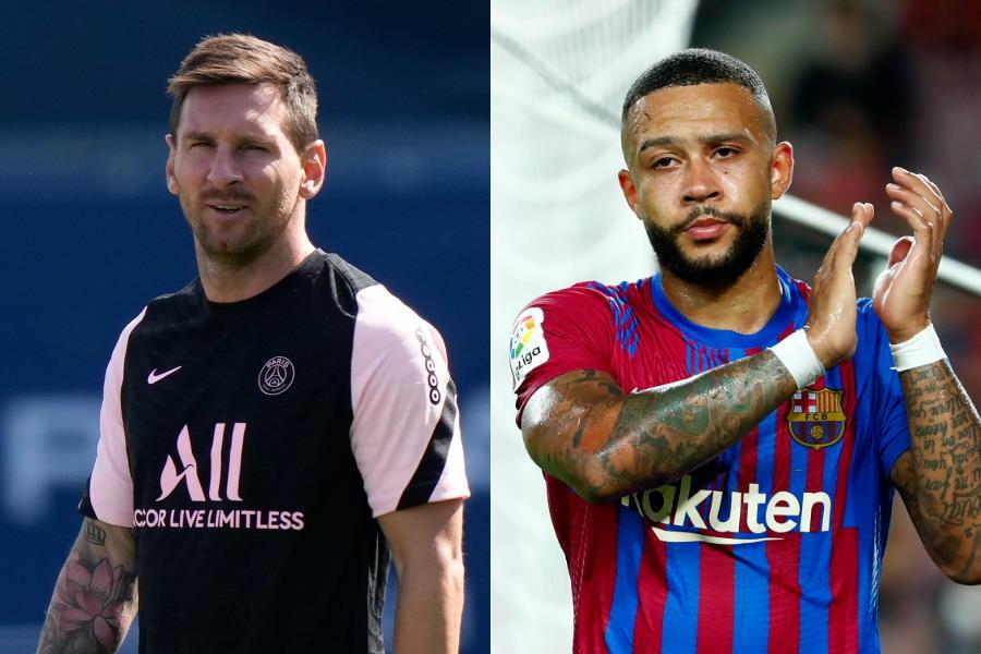 PSGに移籍したメッシとバルセロナに移籍したデパイ【写真:AP】
