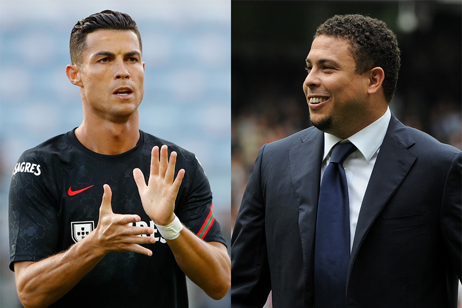 ポルトガル代表FWクリスティアーノ・ロナウドと元ブラジル代表FWロナウド【写真:AP & Getty Images】