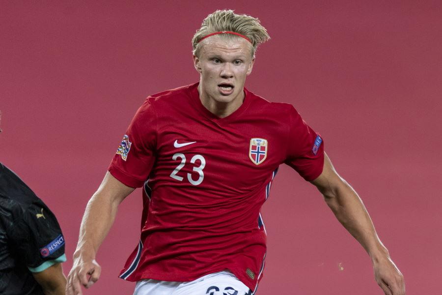 ノルウェー代表初ゴールをマークしたFWアーリング・ブラウト・ハーランド【写真:Getty Images】