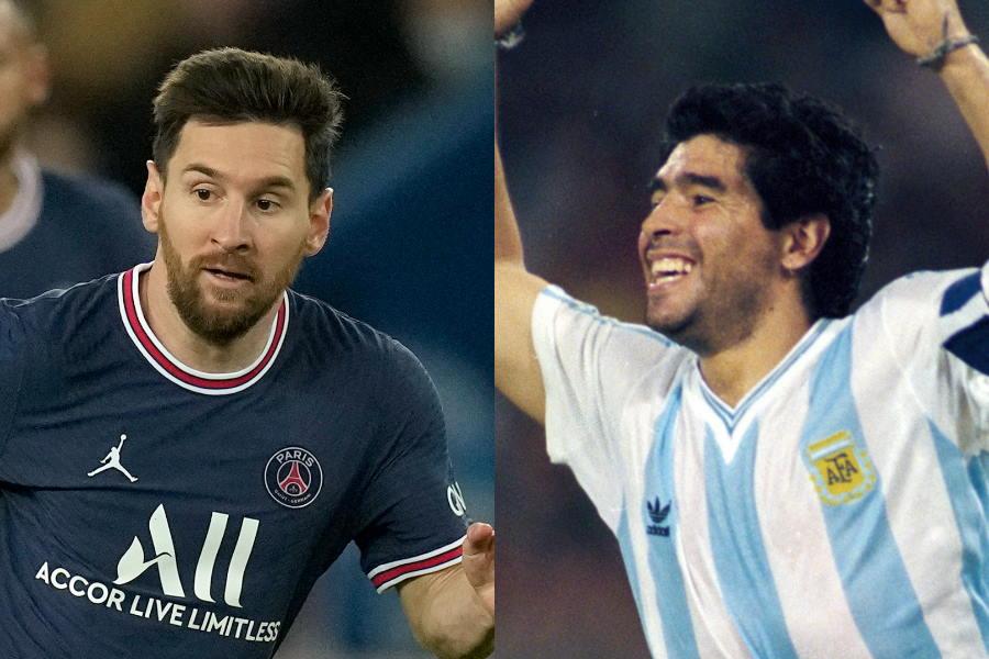 PSGに移籍したメッシとアルゼンチン代表時代のマラドーナ氏【写真:Getty Images & AP】