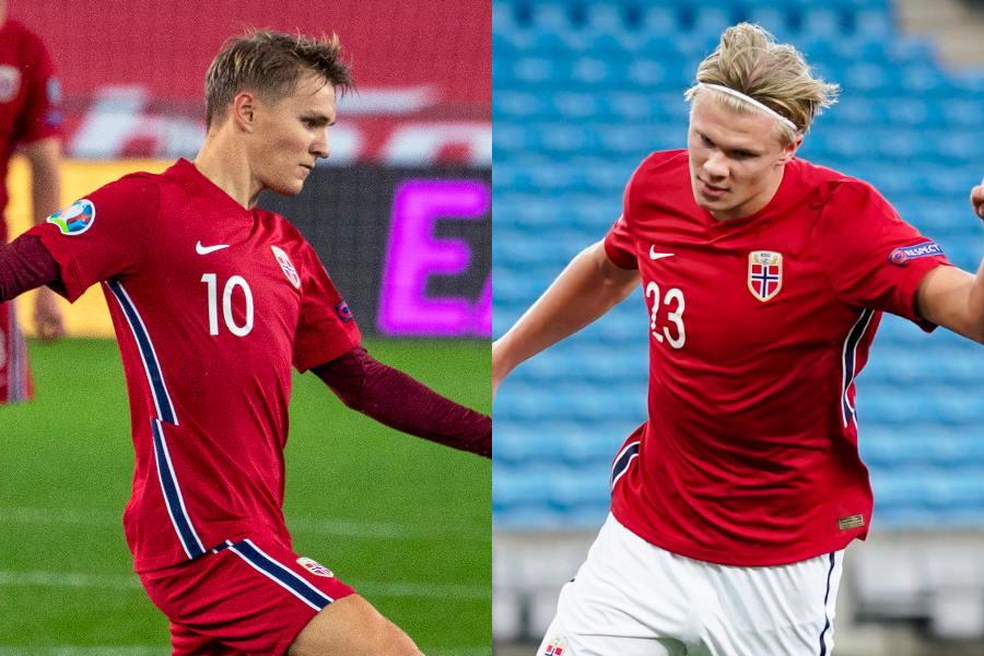 ノルウェー代表MFウーデゴールとFWハーランド【写真:Getty Images & AP】