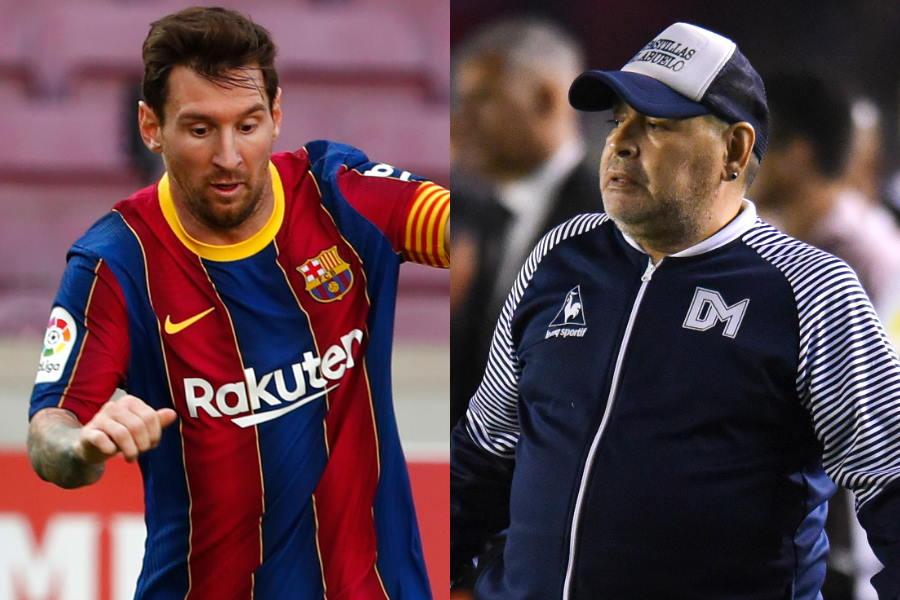 バルセロナFWメッシ(左)と元アルゼンチン代表の英雄マラドーナ氏【写真:Getty Images & AP】