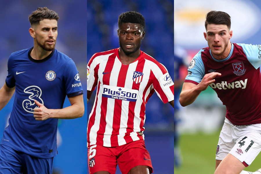 チェルシーはさらに2選手を獲得する可能性と4選手に退団の可能性(左から)ジョルジーニョ、トーマス・パーティ、デクラン・ライス【写真:Getty Images & AP】