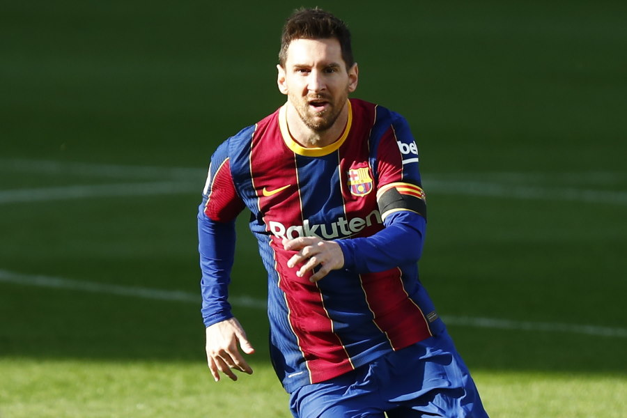 酷似しているゴールを決めたバルセロナのアルゼンチン代表FWリオネル・メッシ【写真:AP】