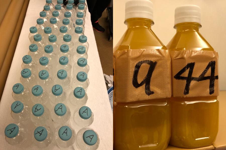 選手が試合中に飲むアクエリアスもスタッフの手作り(左) ドリンクは各選手専用なので、オレンジジュースは背番号入り(右)【写真提供:横浜F・マリノス】