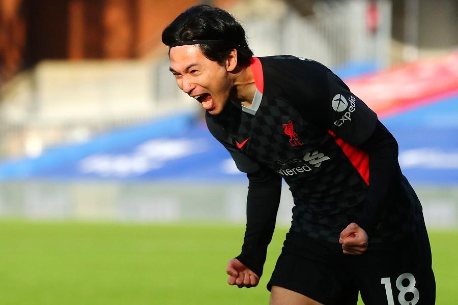 プレミア初ゴールを決め歓喜の咆哮を上げるリバプールFW南野拓実【写真:AP】