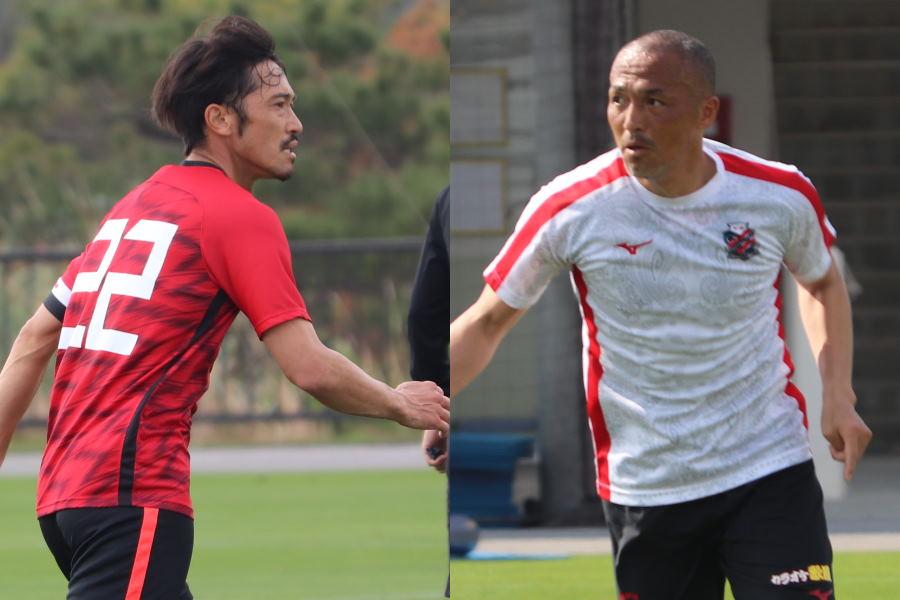 TMで対戦した浦和MF阿部(左)と札幌MF小野【写真:轡田哲朗】