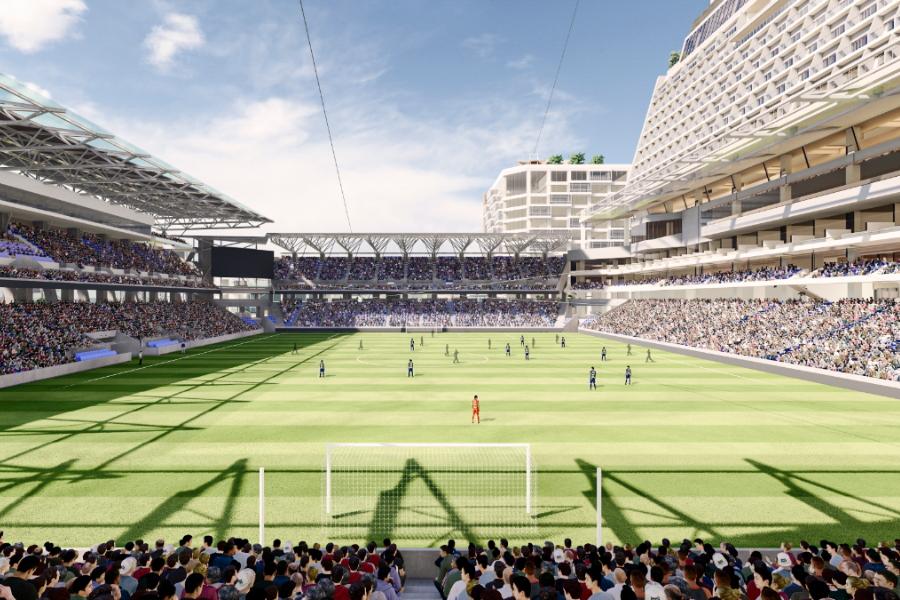 客席数は約2万席、ピッチから客席までの距離が近いスタジアムを目指す(構想段階のため今後デザインを含め変更になる可能性があります)【画像提供:ジャパネットホールディングス】