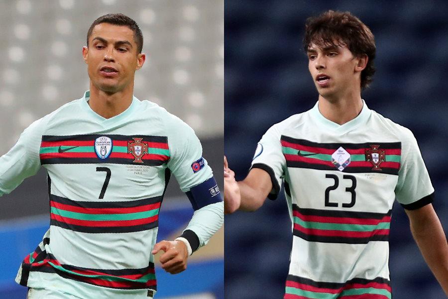 ポルトガル代表のC・ロナウドとジョアン・フェリックス【写真:AP】