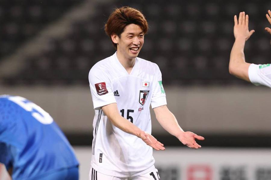 代表では初となるハットトリックを達成したFW大迫勇也【写真:高橋 学】