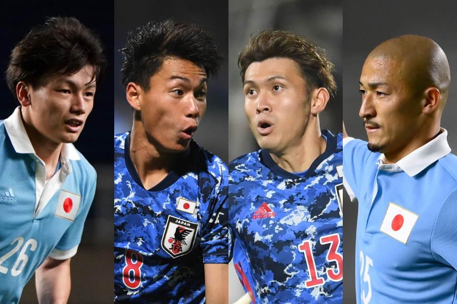 FWの枠を争う4人の選手(左から)上田、林、田川、前田【写真:Getty Images & 浦 正弘】