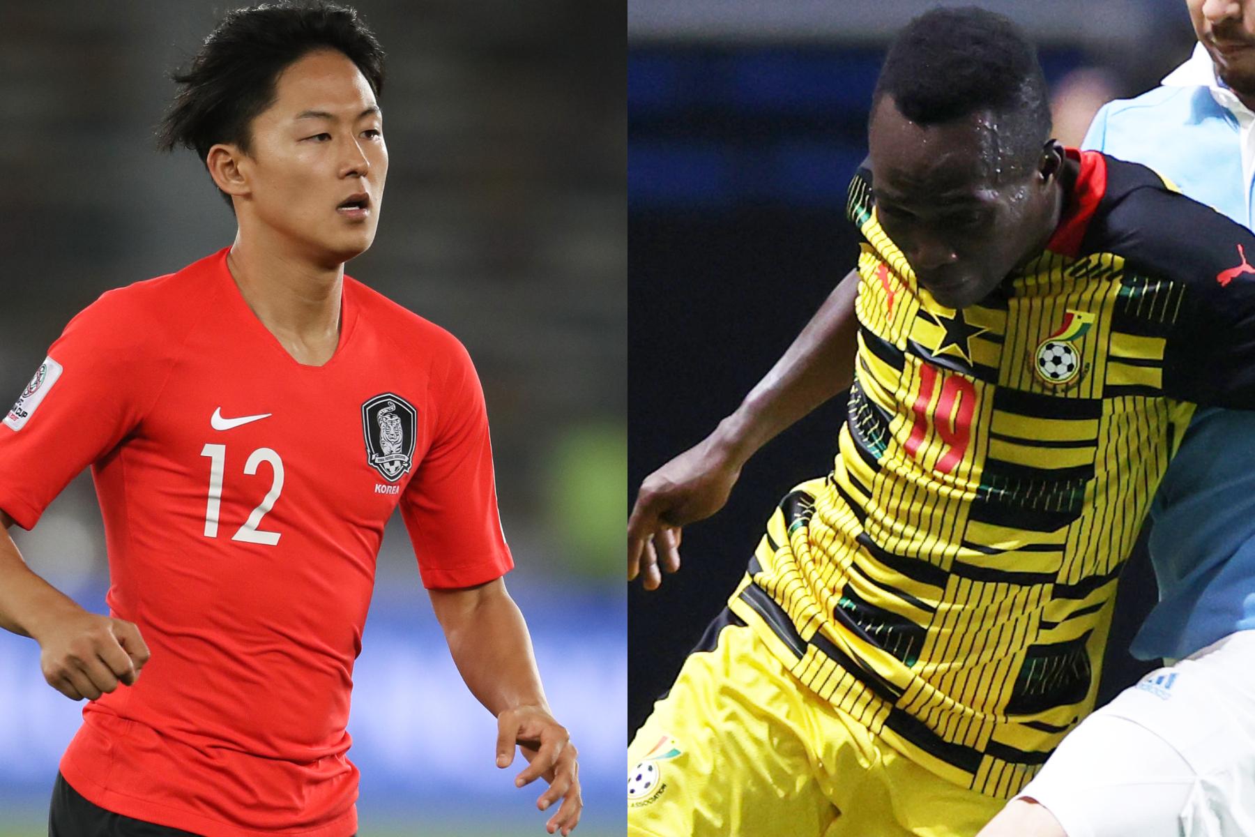 韓国代表MFイ・スンウとU-24ガーナ代表MFジョナー・アットゥクアイエ【写真:Getty Images】
