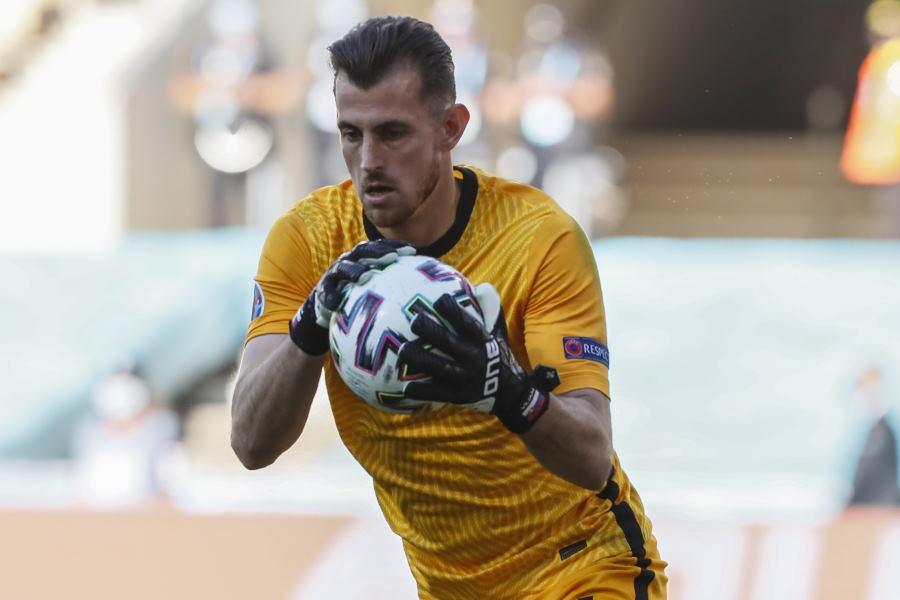 痛恨のオウンゴールを献上したスロバキア代表GKドゥブラフカ【写真:AP】