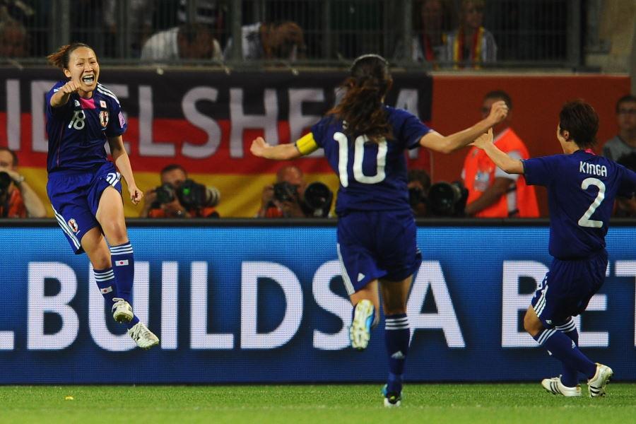 準々決勝のドイツ戦でゴールを決め喜ぶ丸山桂里奈【写真:Getty Images】