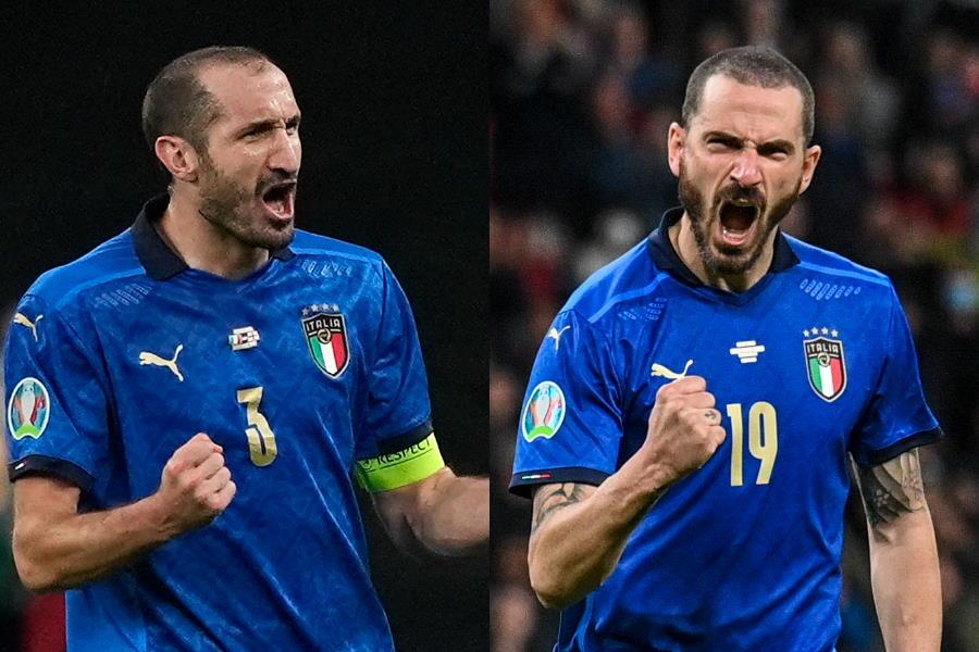 イタリア代表DFジョルジョ・キエッリーニとDFレオナルド・ボヌッチ【写真:AP】