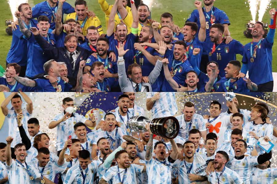 コパ・アメリカ優勝のアルゼンチンとEURO優勝のイタリア【写真:AP】